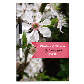 Beautiful White Blossom Wedding Dry Erase Board