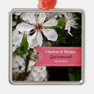 Beautiful White Blossom Wedding Metal Ornament
