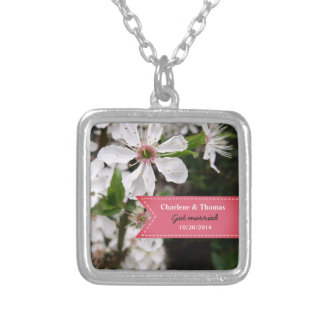 Beautiful White Blossom Wedding Silver Plated Necklace