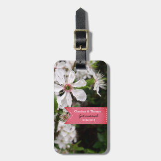 Beautiful White Blossom Wedding Suitcase Tag