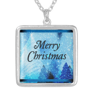 Beautiful White Christmas Square Silver Plated Necklace