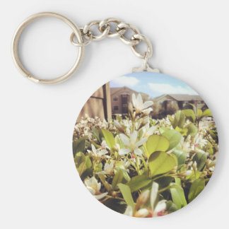 Beautiful White Flowers Basic Round Button Key Ring
