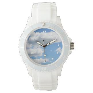 Beautiful White Fluffy Clouds Wristwatch