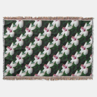 Beautiful White Hawaiian Hibiscus Throw Blanket