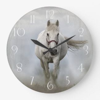 Beautiful white horse in mist wall clocks