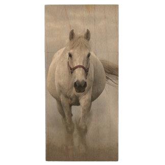 Beautiful white horse in mist wood USB flash drive