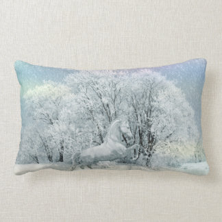 Beautiful White Horse in Snow Lumbar Pillow