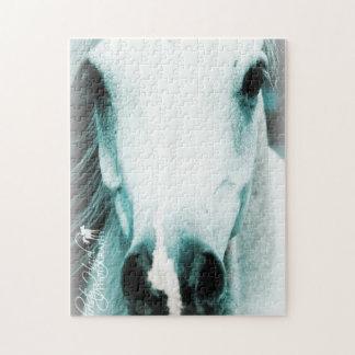 Beautiful white horse jigsaw puzzle. puzzle