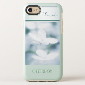 Beautiful white hydrangea blossoms. Add name. OtterBox Symmetry iPhone 8/7 Case