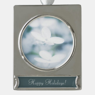 Beautiful white hydrangea blossoms. Add text. Silver Plated Banner Ornament