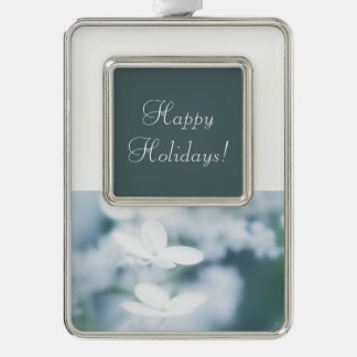 Beautiful white hydrangea blossoms. Add text. Silver Plated Framed Ornament
