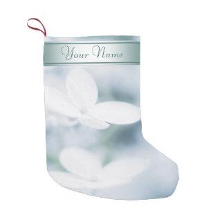 Beautiful white hydrangea blossoms. Add text. Small Christmas Stocking