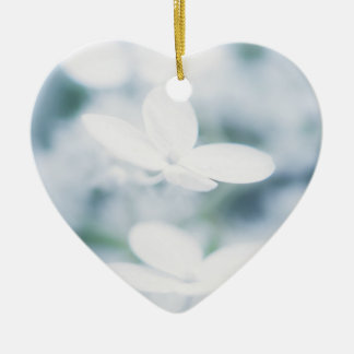 Beautiful white hydrangea blossoms. ceramic ornament