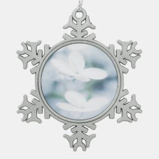 Beautiful white hydrangea blossoms. snowflake pewter christmas ornament