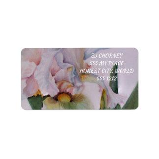 BEAUTIFUL WHITE IRIS FLOWER LABEL