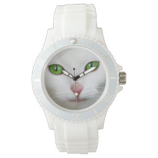 Beautiful white kitty cat kitten animal lover watch