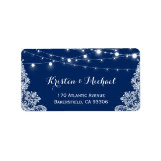 Beautiful White Lace String Lights Navy Blue Address Label