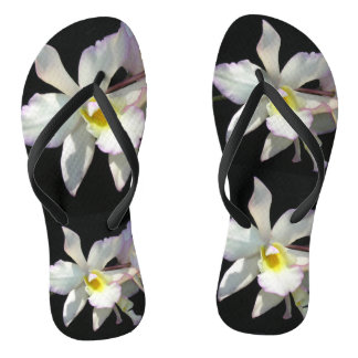 Beautiful White ORCHID Tropical Flowers Fancy Thongs