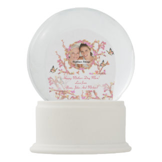 Beautiful White Pink Mothers Day Flowers Butterfly Snow Globe
