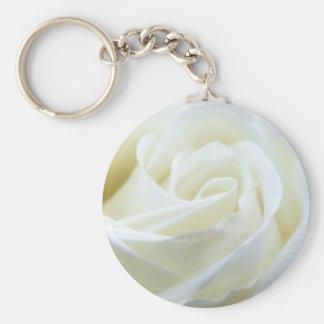 Beautiful White Rose Basic Round Button Key Ring