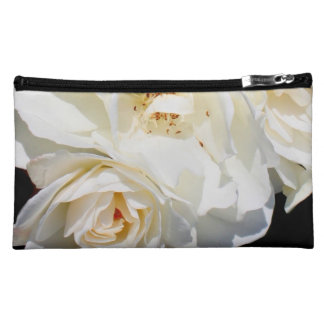 Beautiful white rose bouquet cosmetic bags