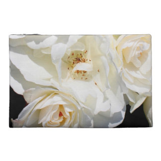 Beautiful white rose bouquet travel accessory bag