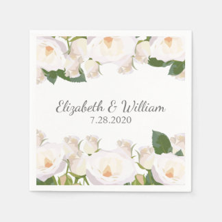 Beautiful White Rose Elegant Romantic Wedding Disposable Napkin