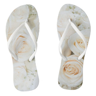 Beautiful White Rose Flip Flop For The Bride To Be