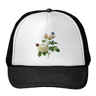 Beautiful White Roses Kissed by Butterflies Cap