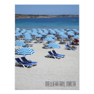 Beautiful White Sand Beach Mellieha Bay Malta Photo Print