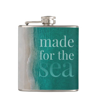 Beautiful White Sandy Beach Hip Flask