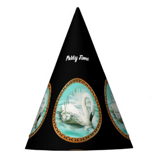 Beautiful white swan in a turquoise blue water party hat