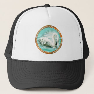 Beautiful white swan in a turquoise blue water trucker hat