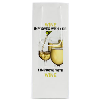 Beautiful White Wine Photo with Funny Typography Wine Gift Bag