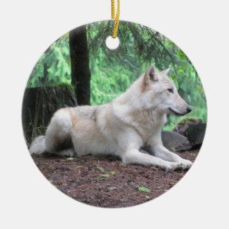 Beautiful White Wolf Ceramic Ornament