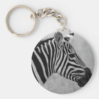 Beautiful wild black and white zebra design key ring