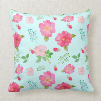 Beautiful Wild Pink Roses and Rose Hips Watercolor Throw Pillow
