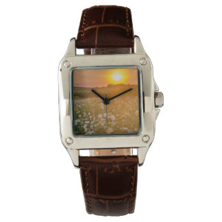 Beautiful Wildflowers Sunset Brown Leather Watch