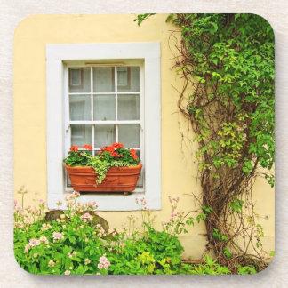 Beautiful window with flowers cork coaster