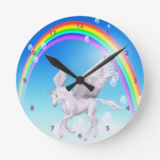 Beautiful Winged Unicorn, Rainbow & Bubbles Clock