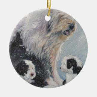 Beautiful winter Old English SheepDog Painting Ceramic Ornament