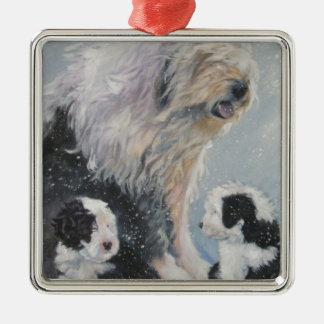 Beautiful winter Old English SheepDog Painting Metal Ornament