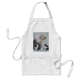Beautiful winter Old English SheepDog Painting Standard Apron