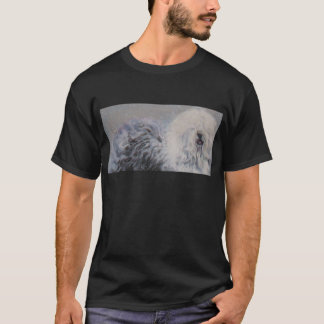 Beautiful winter Old English SheepDog Painting T-Shirt