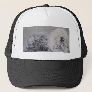 Beautiful winter Old English SheepDog Painting Trucker Hat