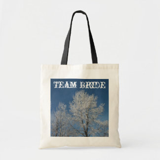 Beautiful  winter snow covered  trees scene budget tote bag