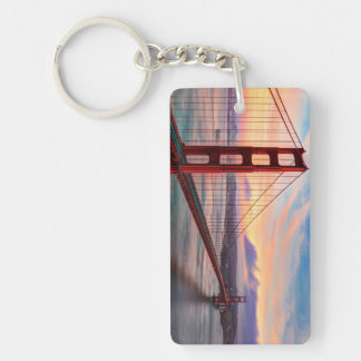 Beautiful winter sunset at Golden Gate Bridge Key Ring