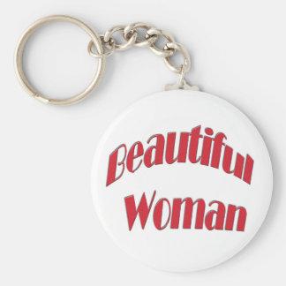 Beautiful Woman Basic Round Button Key Ring