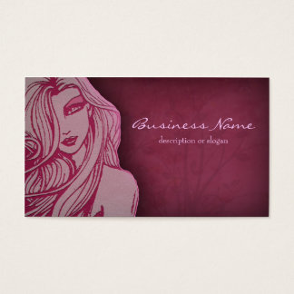 Beautiful Woman Deep Pink Business Card