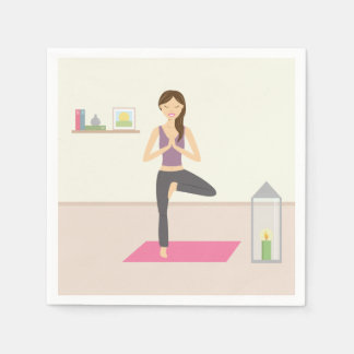 Beautiful Woman Doing Yoga In A Decorated Room Disposable Serviette